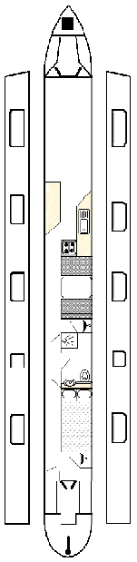 layout of a 58ft canal boat